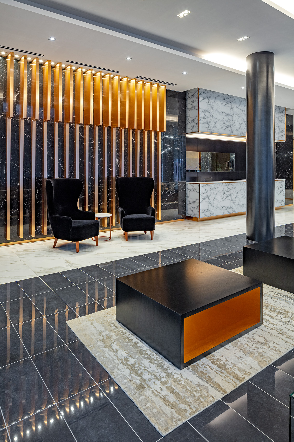Lobby with stone floor, Peter A. Sellar Architectural Photographer