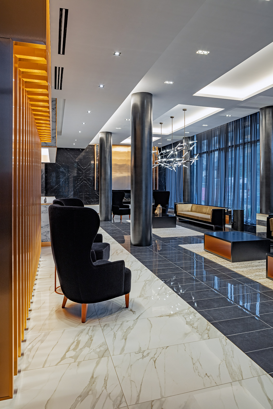 Lobby of a condominium, Peter A. Sellar Architectural Photographer