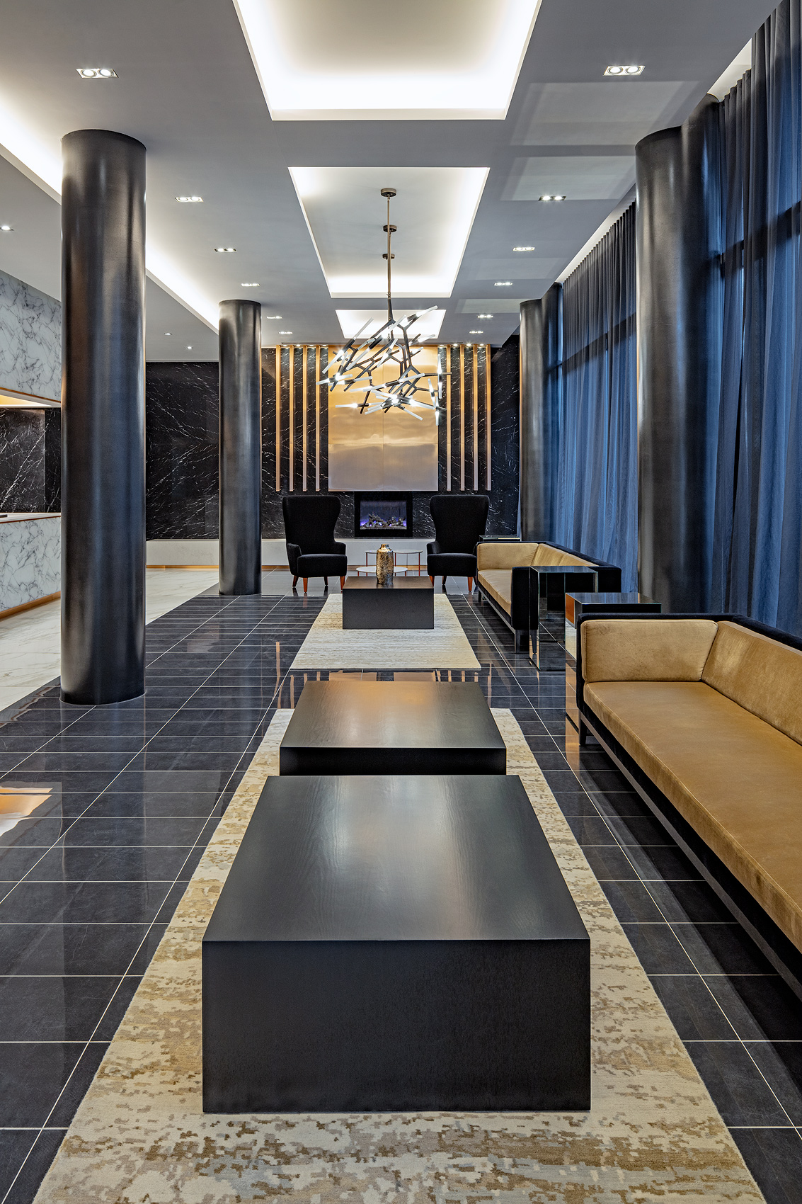 Lobby with stone walls and floors, Peter A. Sellar Architectural Photographer