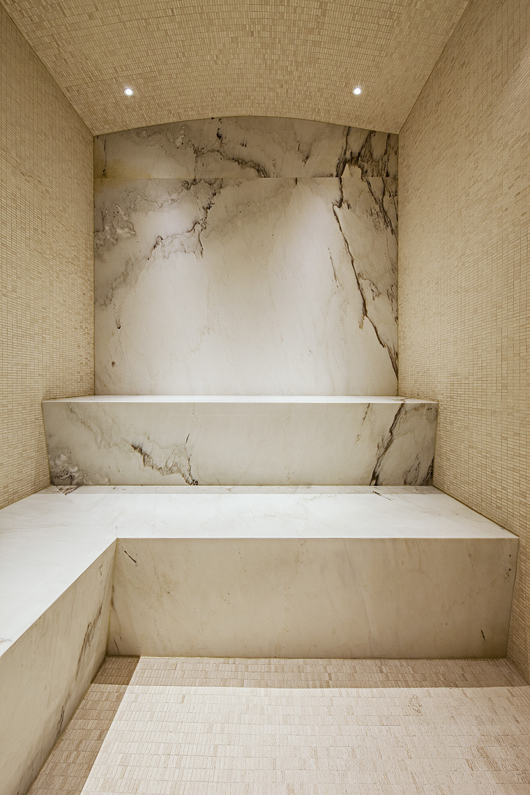 White marble steam room by Peter A. Sellar Architectural Photographer