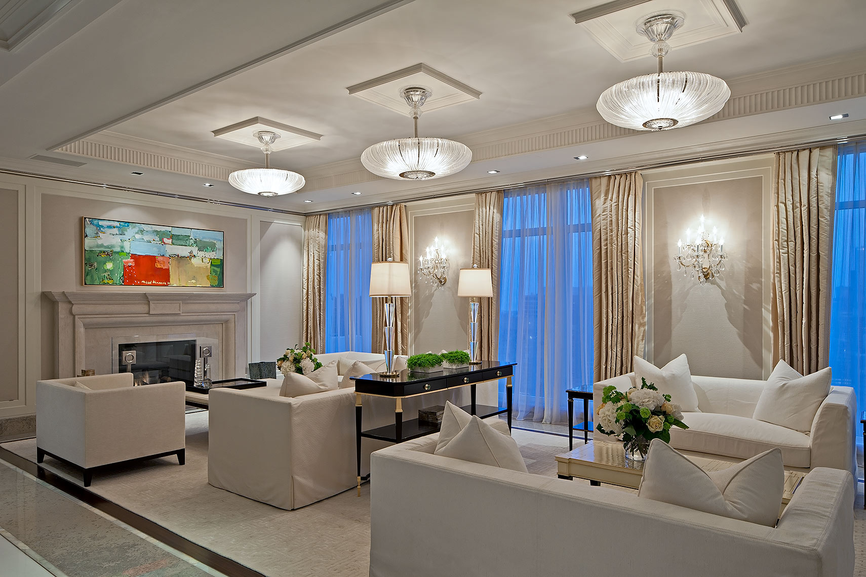 Luxurious living room with flowers by Peter A. Sellar Architectural Photographer