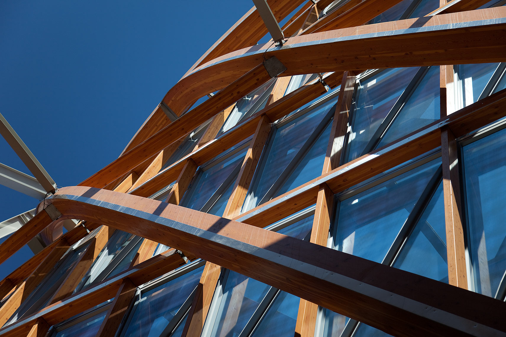 Glass and wood facade detail AGO Peter A. Sellar Architectural Photographer