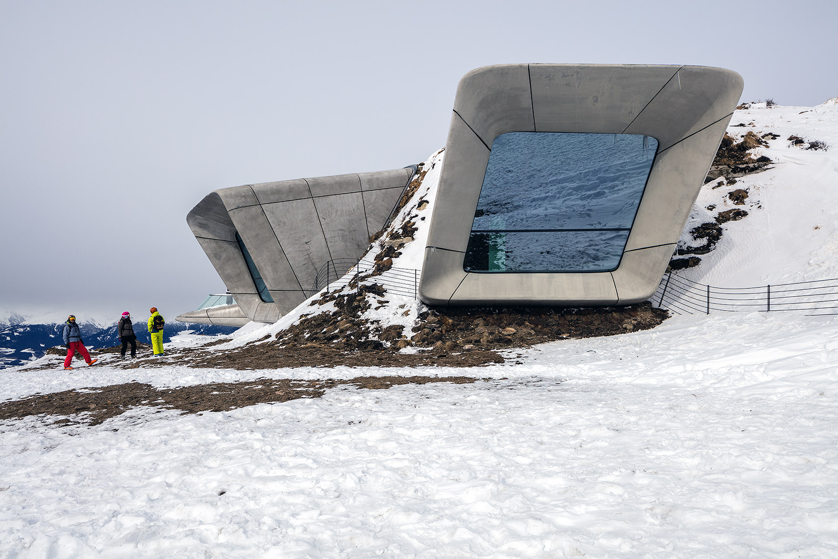 Exterior with snow of Messner Mountain Museum Peter A. Sellar Architectural Photographer