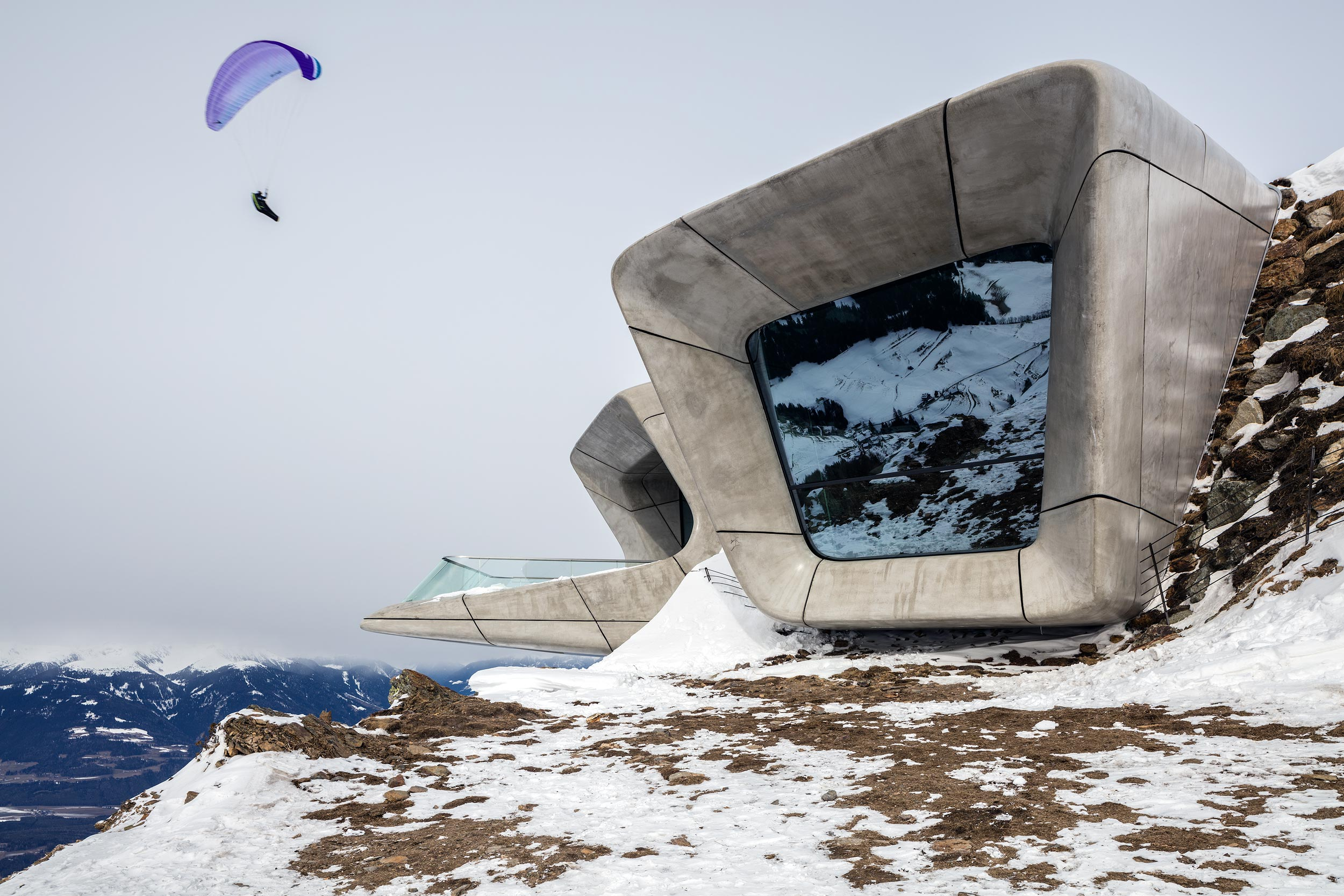 Architectural photograph of Messner Mountain Museum Corones embedded within the summit of mount Krompatz designed by Zaha Hadid architects