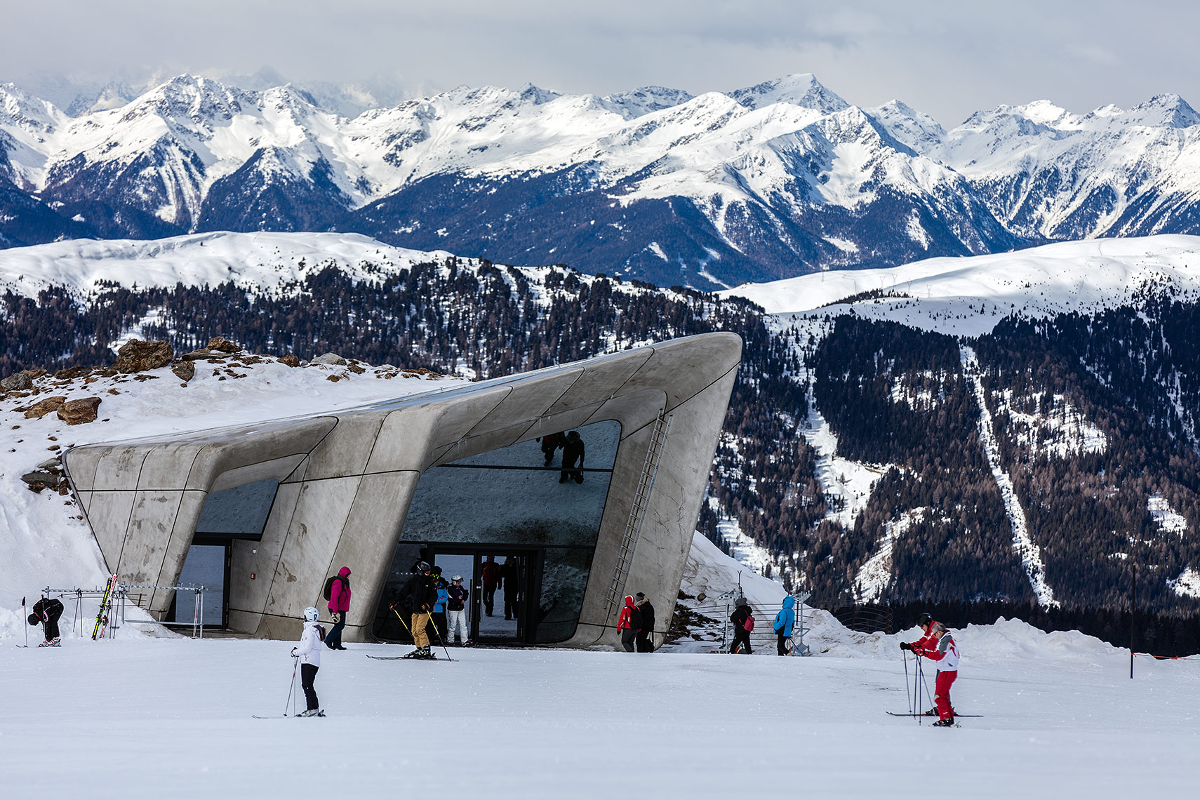 Museum entrance with skiers, Peter A. Sellar Architectural Photographer