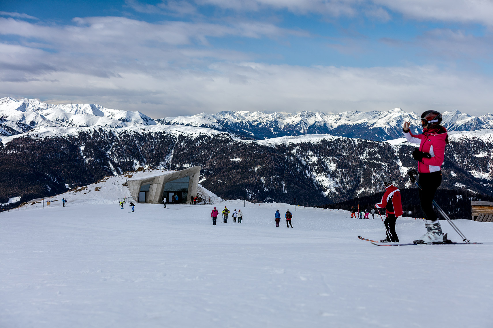 Messner museum and skiers, Peter A. Sellar Architectural Photographer