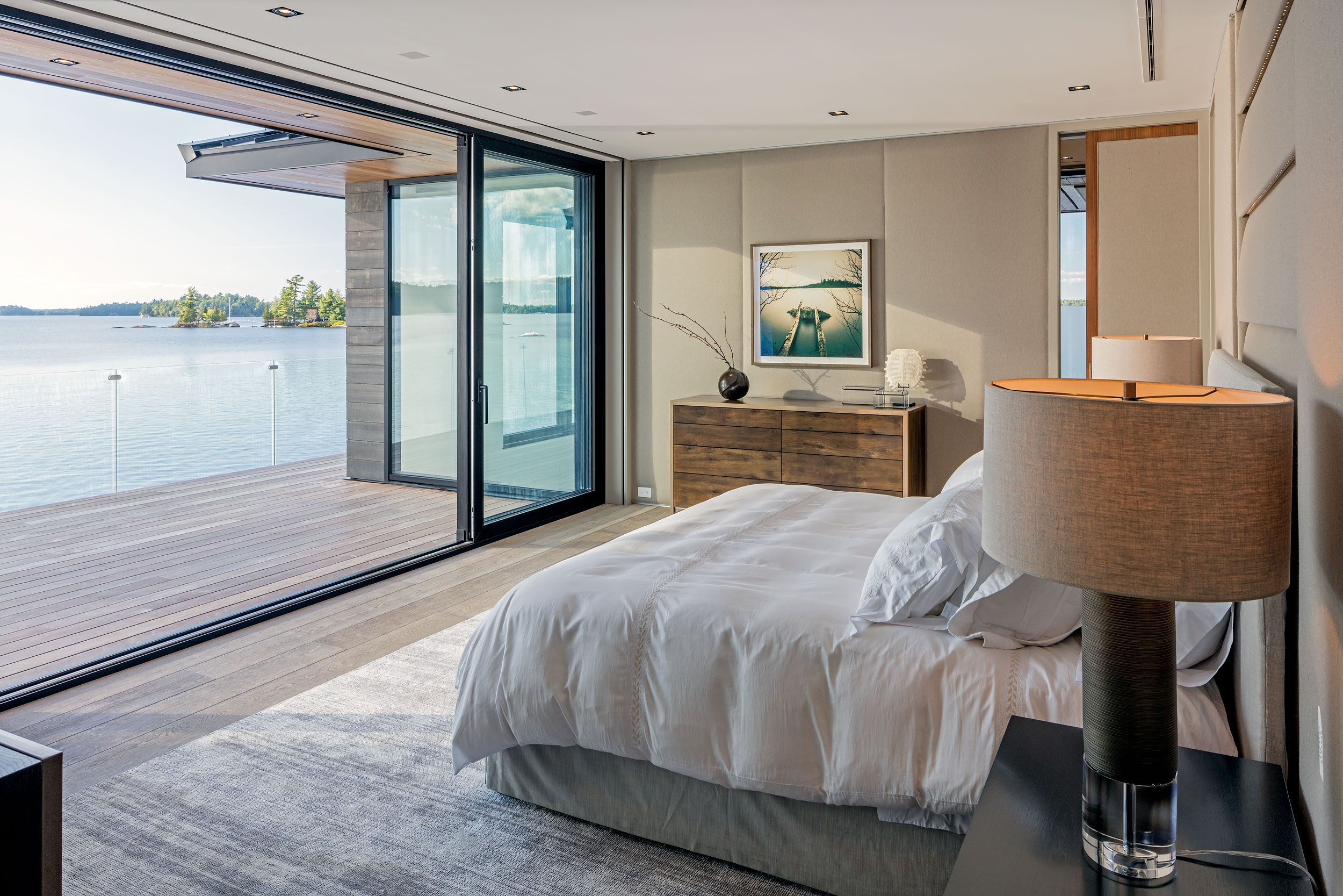 Guest bedroom on a lake