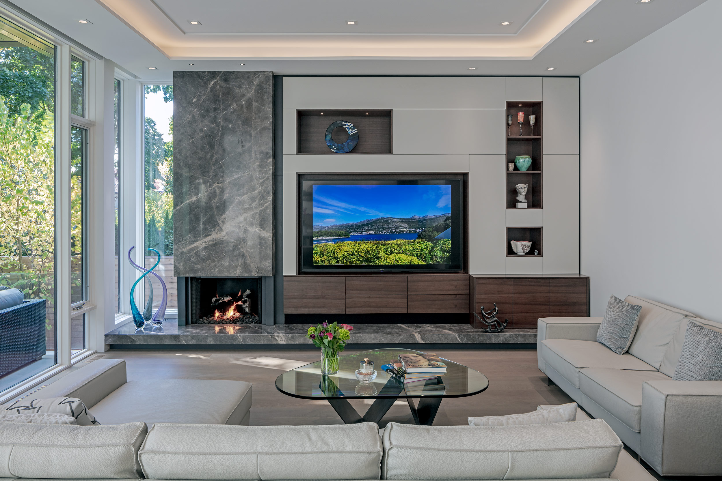 Modern living room with a custom wall unit