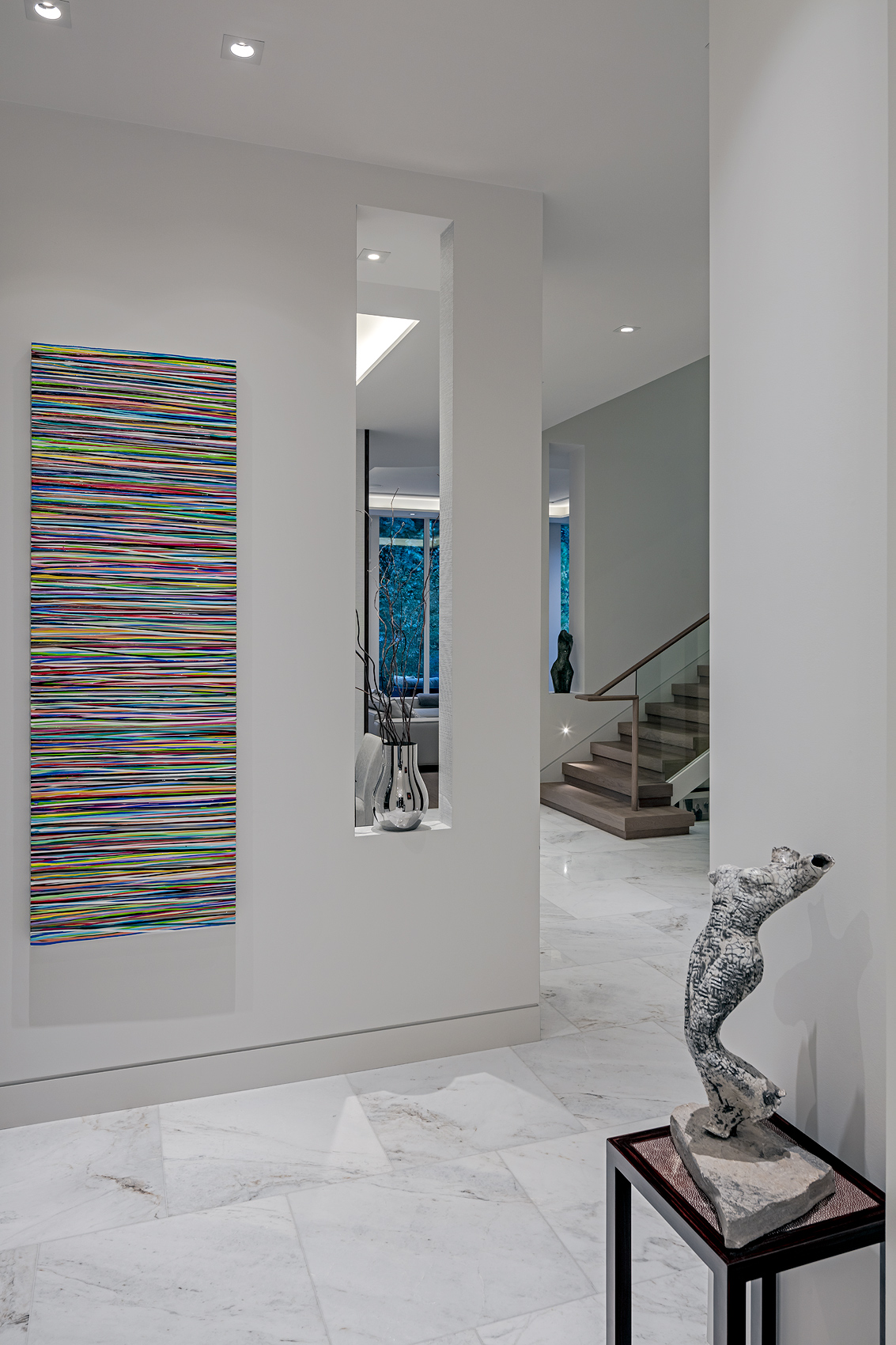 Modern hallway with art