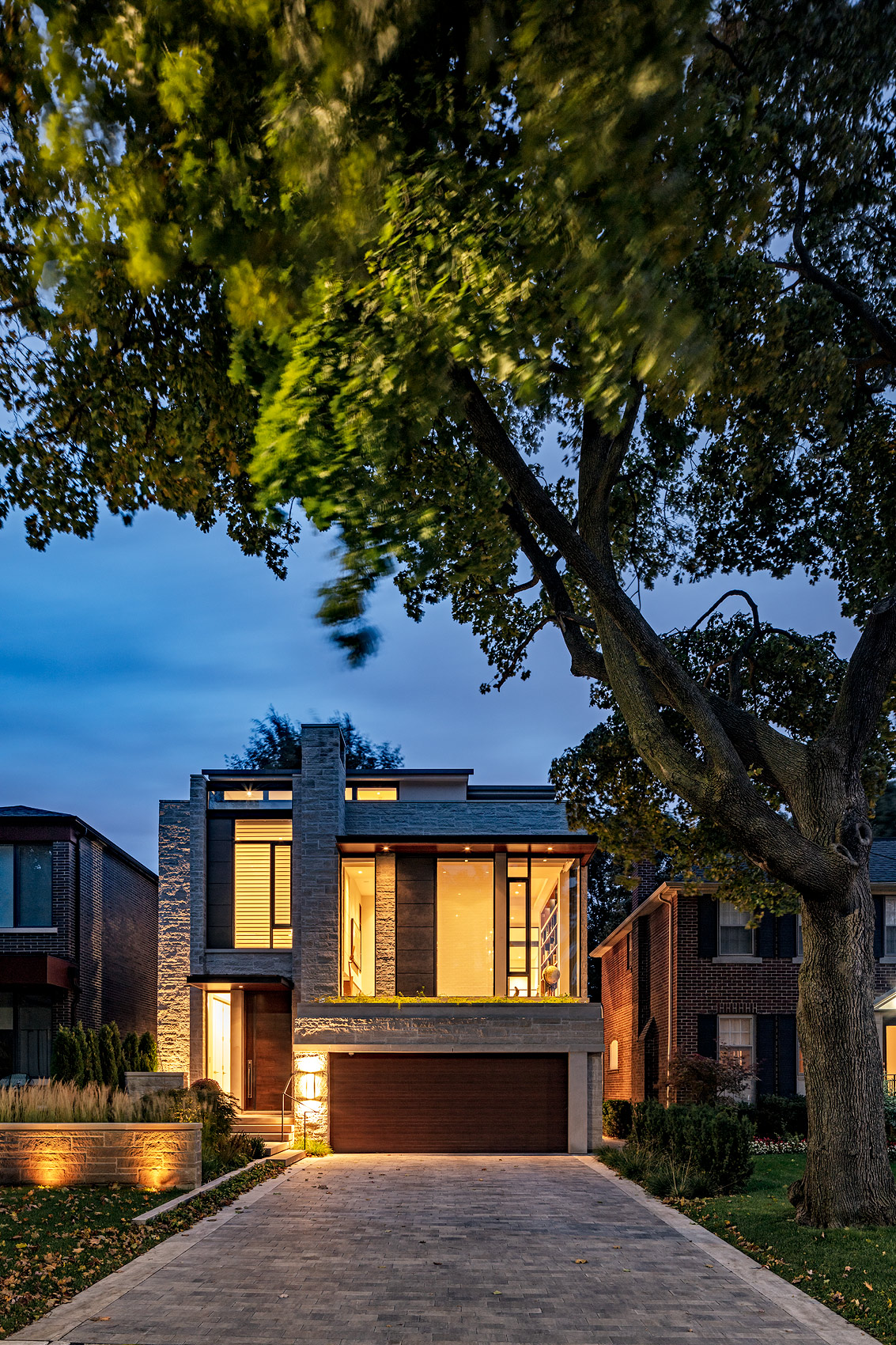 Front elevation of a modern house in the evening